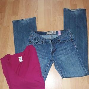 VS PINK low rise Jean's 6 & tee medium